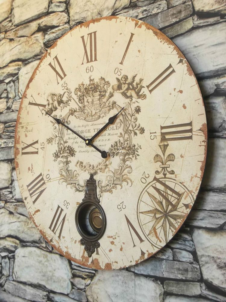 Extra Large 60cm Antique French Vintage Style Wall Clock Shabby Chic New Boxed Shabby Chic Wall Clock Wall Clock Clock