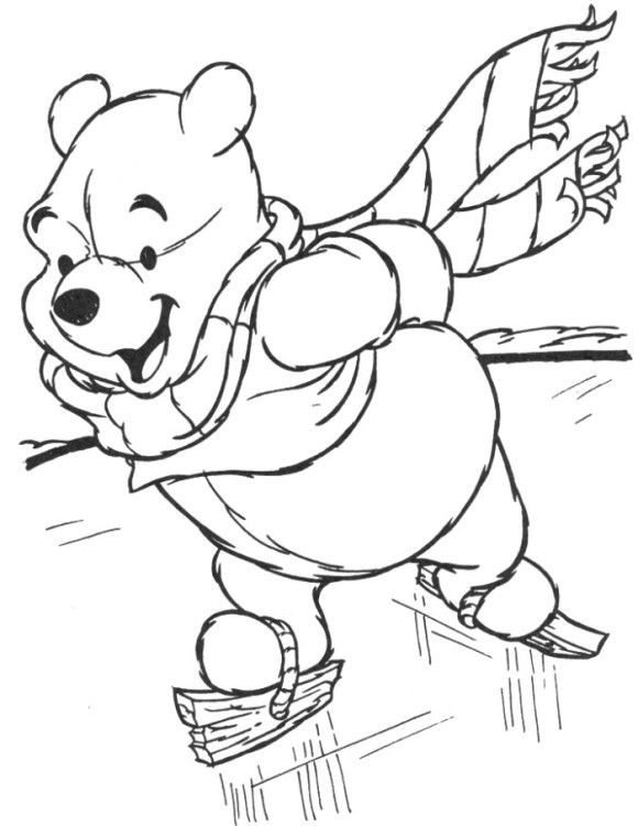 Winnie The Pooh Preschool Coloring Pages Winter  00  Pinterest