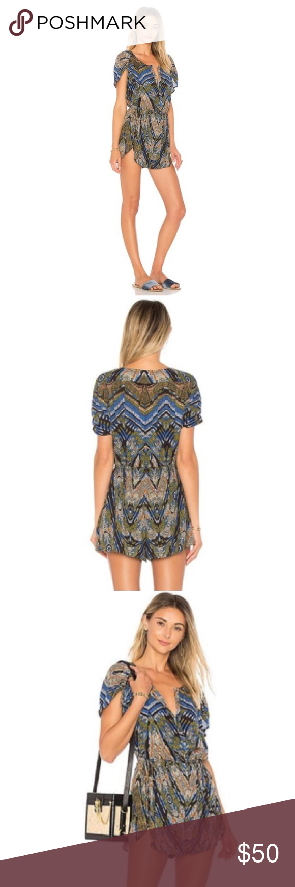 40efc39120d5 Free People Dream All Night Romper Wide awake and feeling whimsical in the Dream  All Night Romper by Free People. A mix of moody shades pattern this swingy  ...