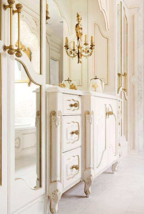 White And Gold French Bathroom Features A White French