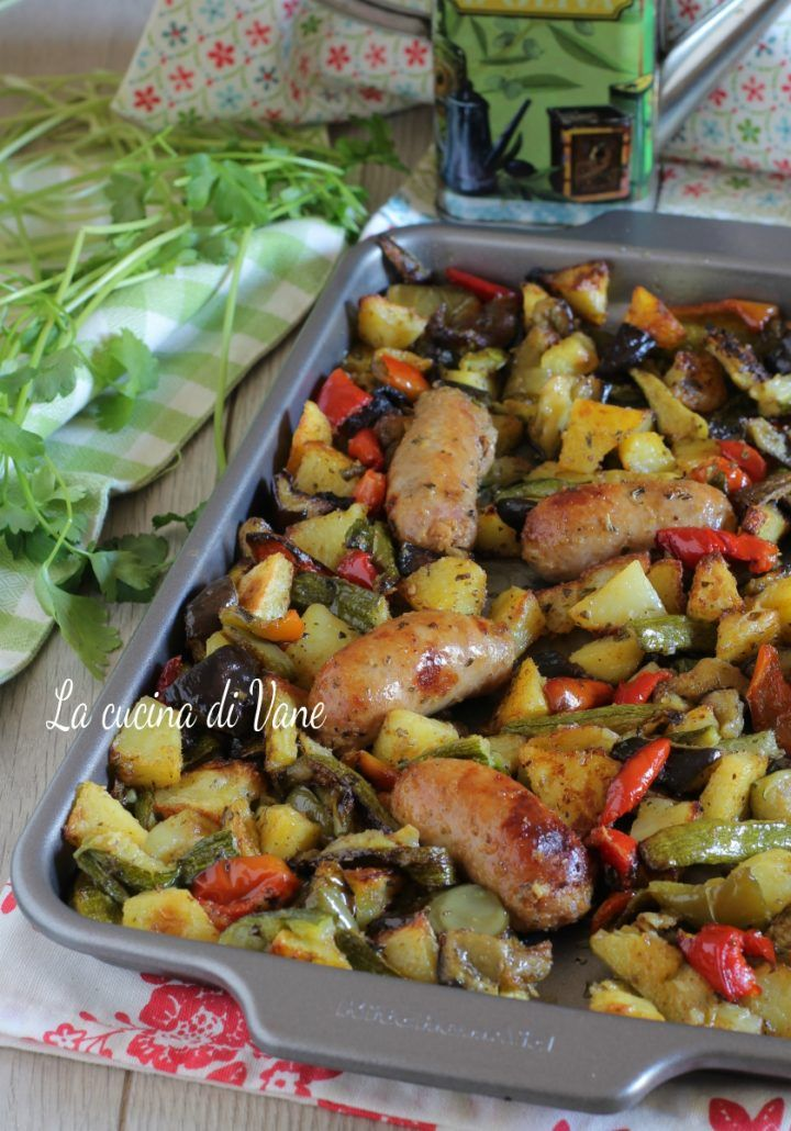 Photo of BAKED VEGETABLES WITH SAUSAGES with potatoes, courgettes, peppers