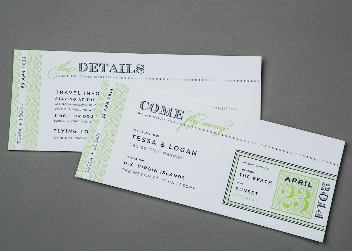 Boarding Pass Wedding Invitation | Watermark Stationery | Wedding ...