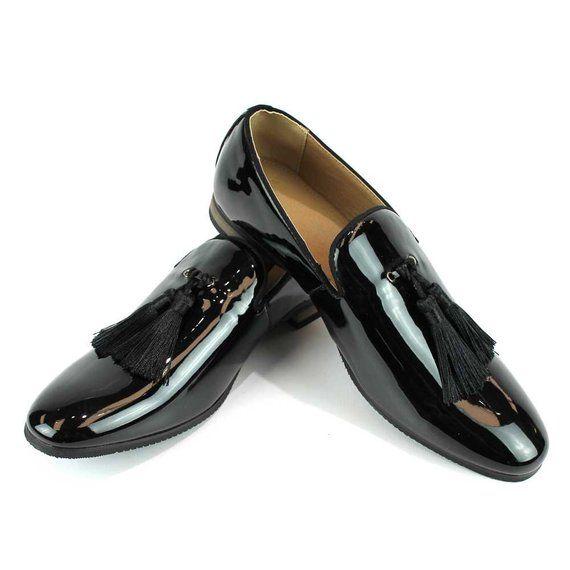 0e872723fb2b Slip On Patent Black Tuxedo Loafers Handmade Tassel Modern Formal Mens  Dress Shoes By AZAR