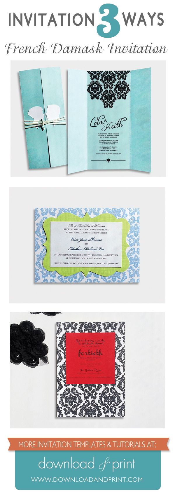 Diy Damask Party Invitation Printable From Downloadandprint Use