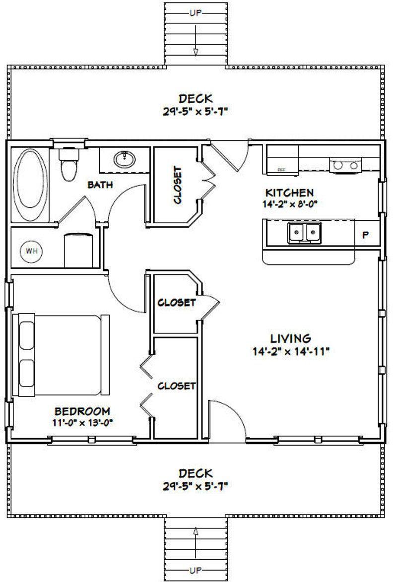30x24 House 1 Bedroom 1 Bath 720 Sq Ft Pdf Floor Plan Instant Download Model 6f Apartmentfl In 2020 Tiny House Floor Plans Tiny House Plans House Plans