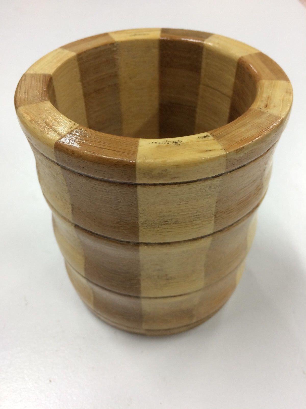 Bamboo Wooden Kitchen Round Utensil Storage Jar Cutlery Holder Caddy