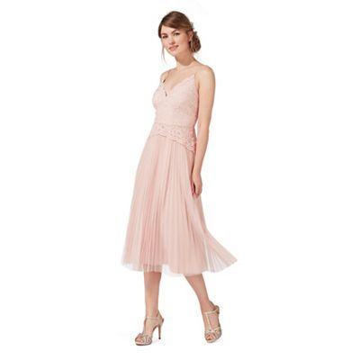 Debut Light Pink Lace Midi Dress Debenhams Dresses Prom Dresses Floral Lace Dress