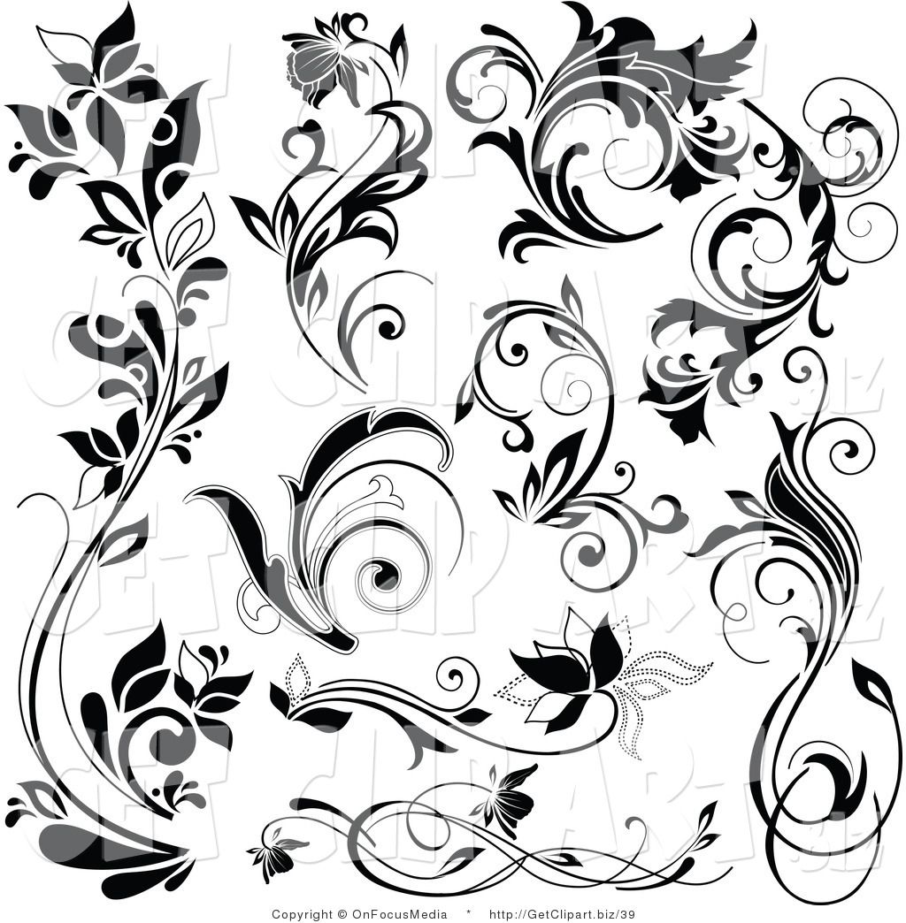 Free Flourish Clip Art Black And White Royalty Free Floral Stock