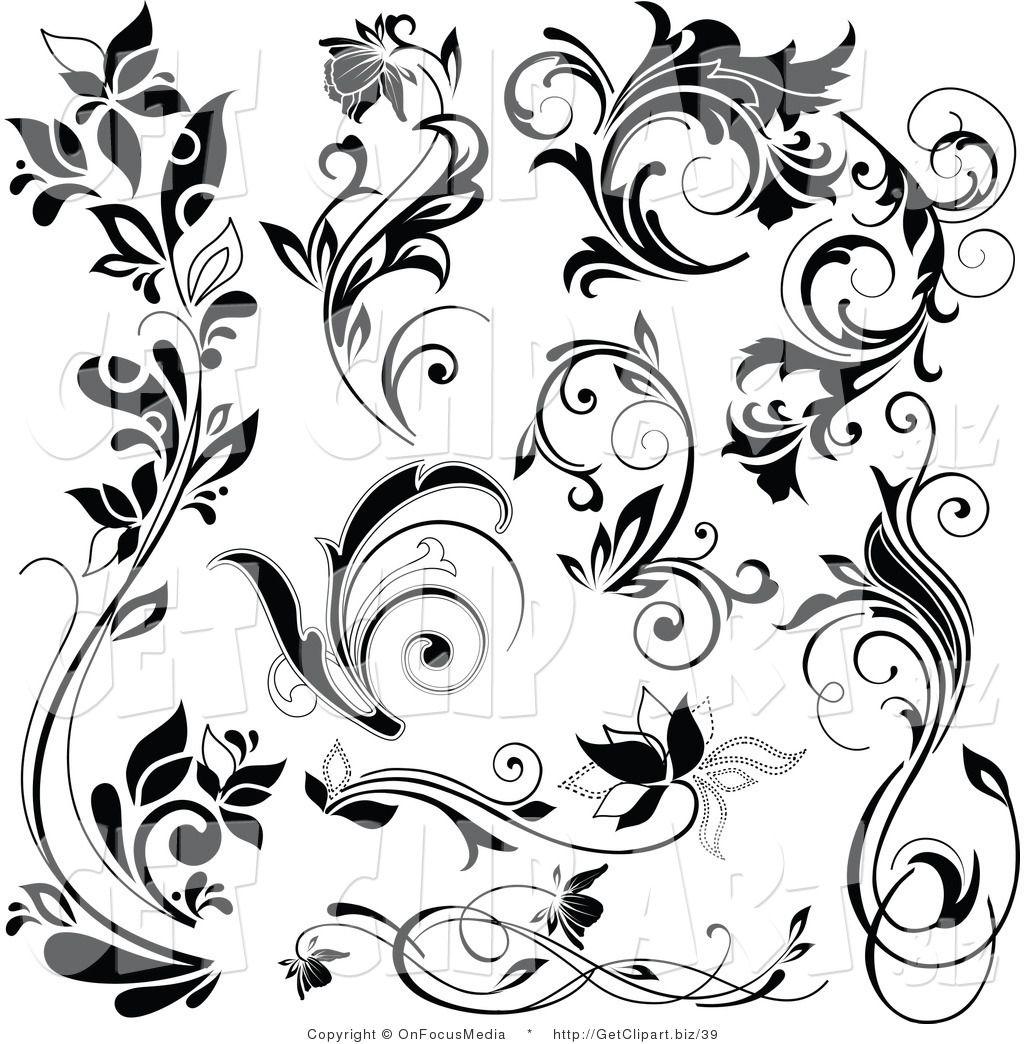 Free Flourish Clip Art Black and White Royalty Free