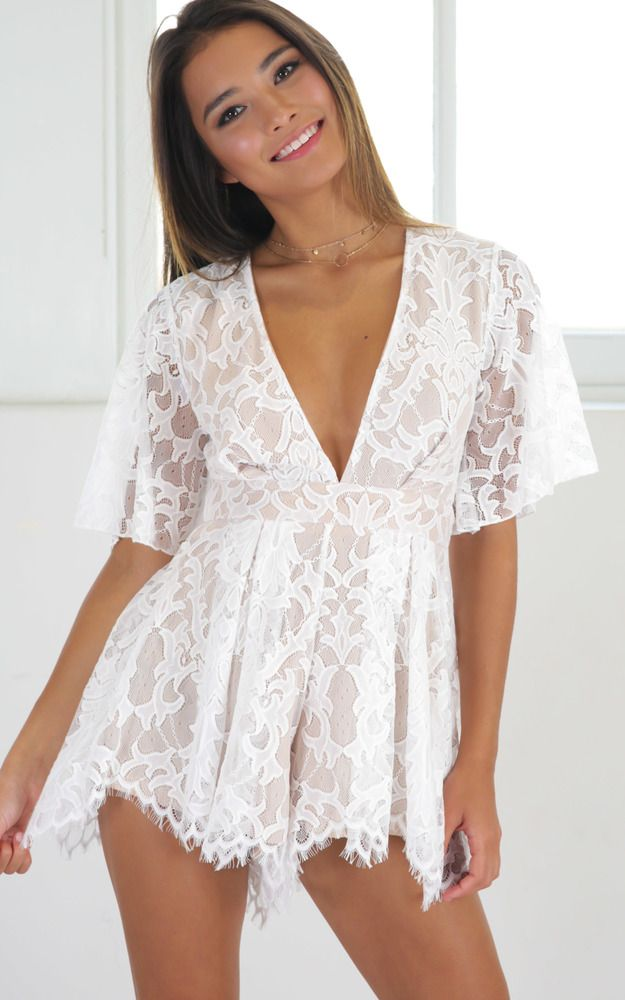 1d7f645586f Break the Bar playsuit in white lace Produced | clothes | Lace ...
