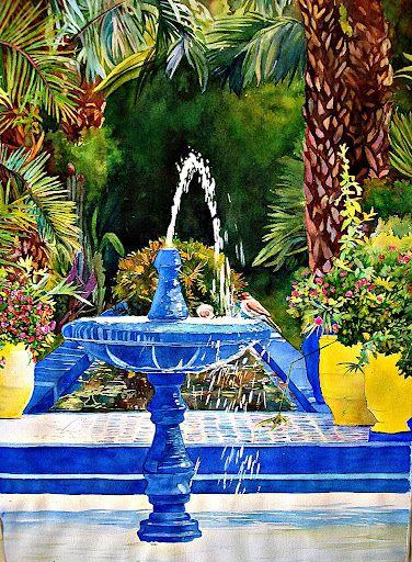 F Chauray Watercolor Majorelle Garden Marrakech J Adore Maman