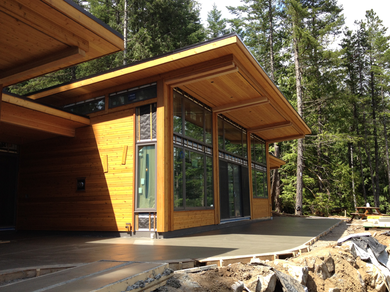 gambier island bc project front entry patio timberframe post