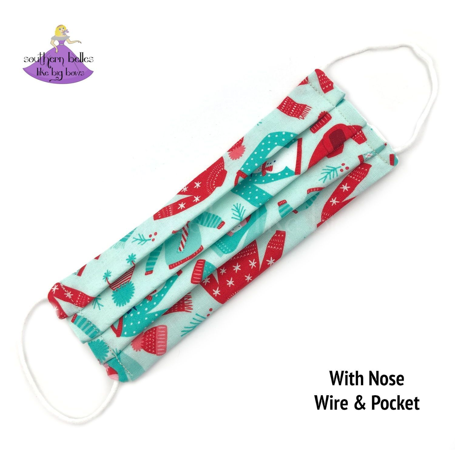 Kids Christmas Face Mask with Filter Pocket and Nose Wire