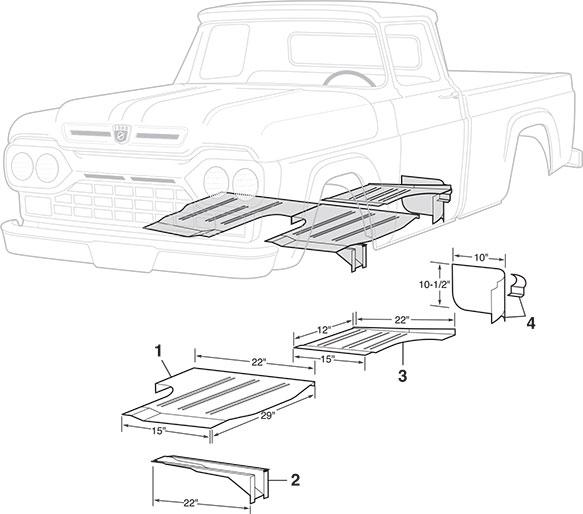 Steel Cab Repair Panels 1957 60 Ford F100 F250 Lmc Truck Ford Trucks Ford Cab