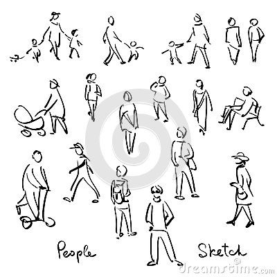 Casual People Sketch Outline Hand Drawing Vector Illustration Sketches Of People How To Draw Hands Person Sketch
