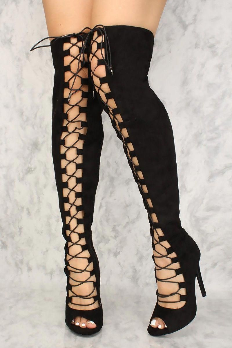 140ff53a7f Buy Sexy Black Lace Up Single Sole Open Toe Thigh High Boots Faux Suede  with cheap