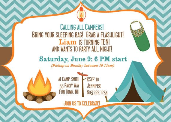Camping Birthday Party Invitation Printable Camping Out Party, Kreative  Einladungen