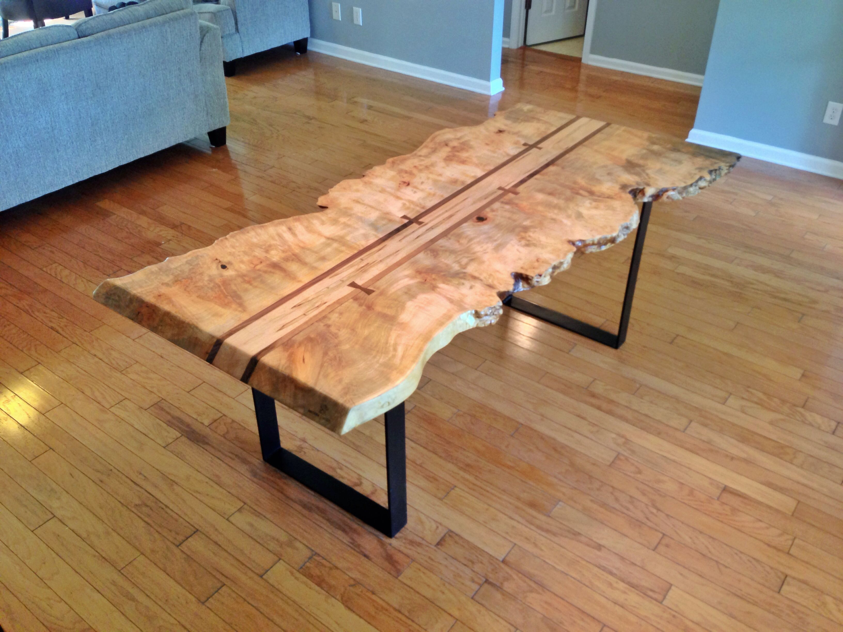 Walnut live edge dining table - Maple Burl Live Edge Dining Table With Ambrosia Maple Center Flanked By Walnut With Hand