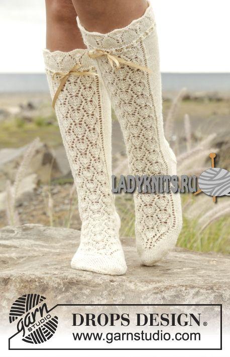 Красивые ажурные гольфы спицами «Мария Антуанетта» от Drops | Socks ...