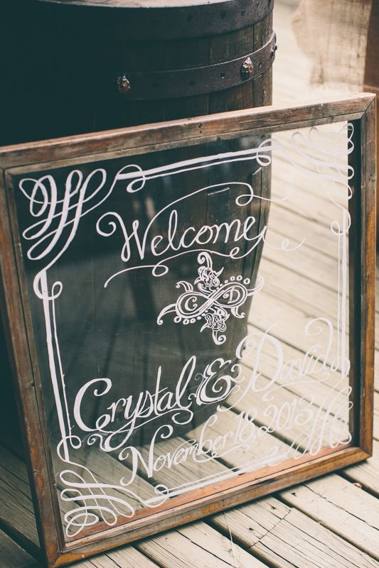 Welcome To Our Wedding Sign On Glass With Frame