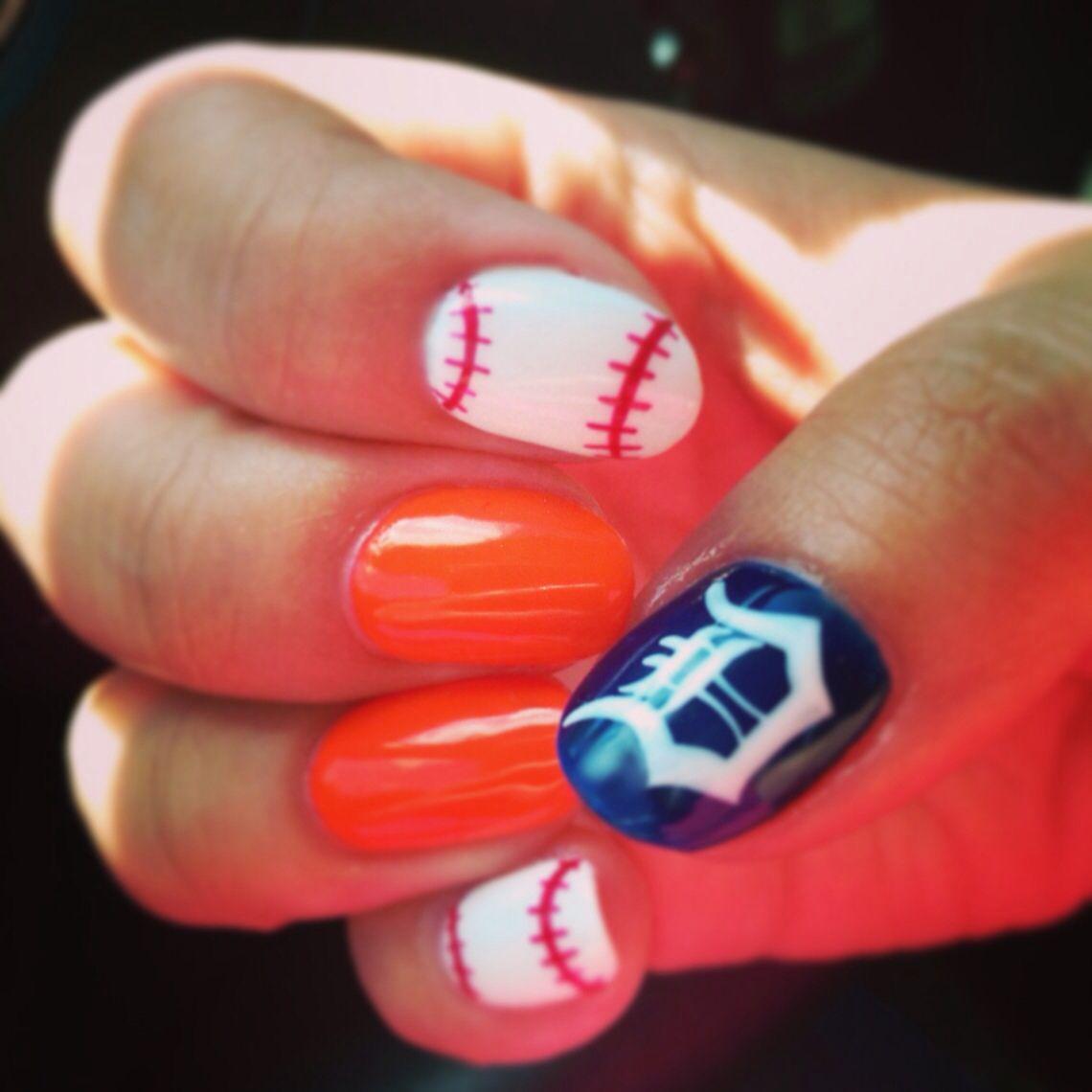 Detroit Tigers nail art | \