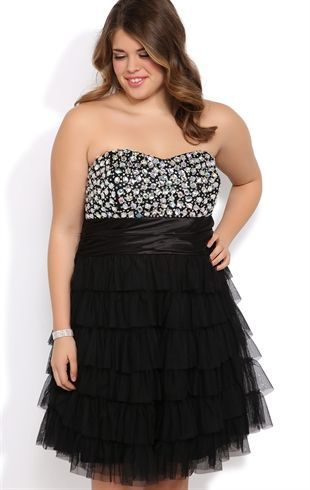 Plus Size Jeweled Strapless Short Homecoming Dress with Cupcake ...