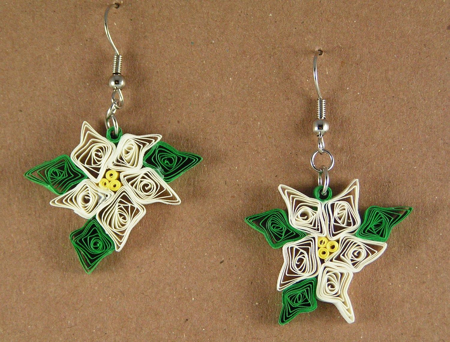 White Poinsettia Earrings by QuillPaperTreasures on Etsy