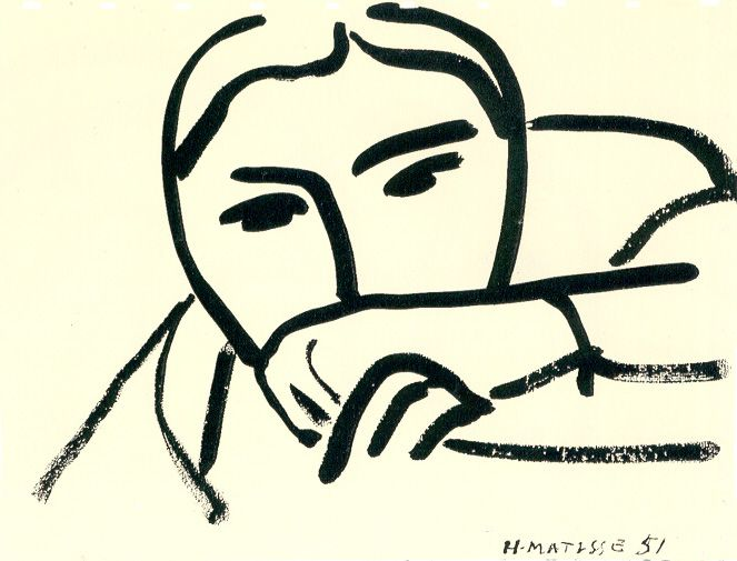 Matisse, Woman Covering her Face with her Hand,  ink on paper, 1951.