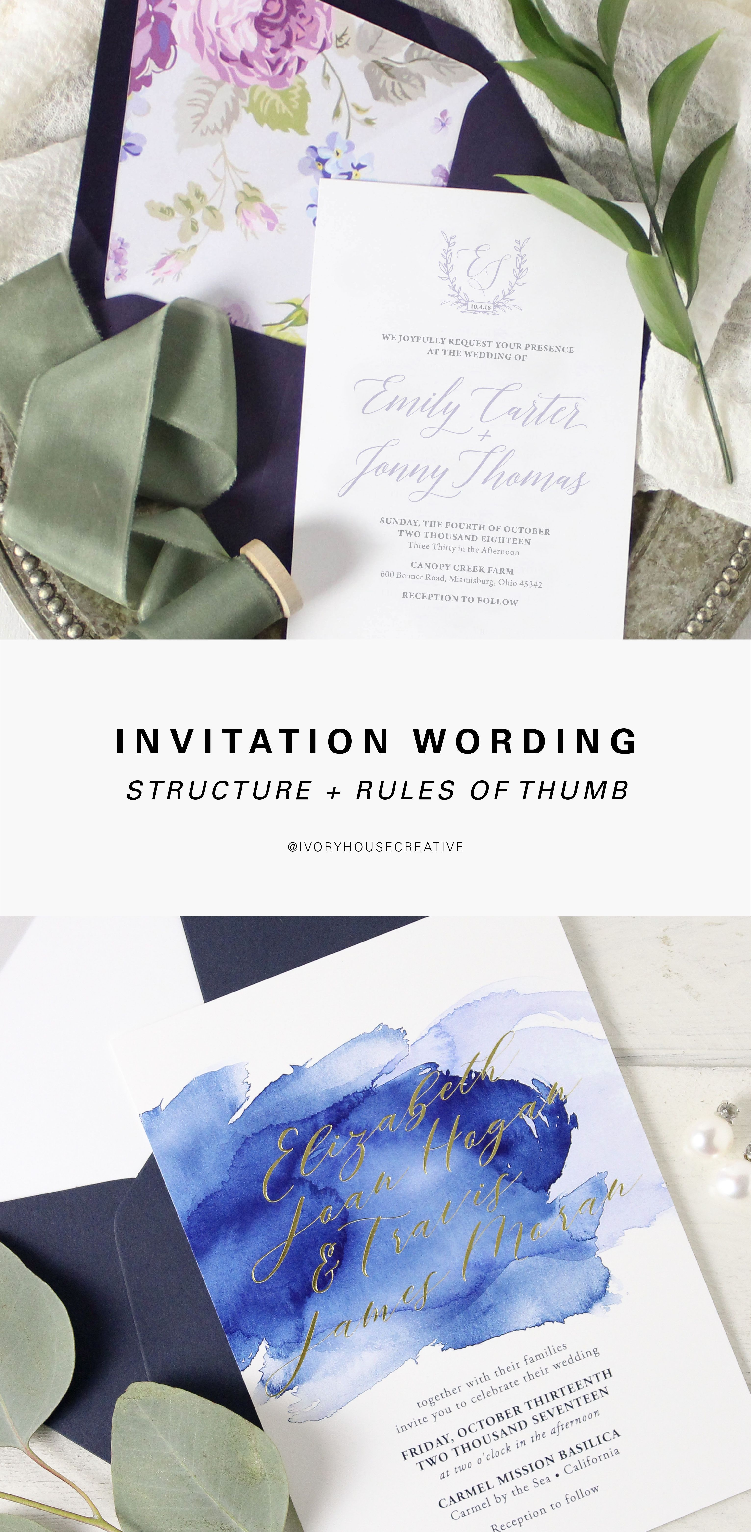 Wedding invitation wording the structure pinterest wedding invitation wording tips and rules of thumb weddinginvitations weddingstationery invitations stopboris Image collections