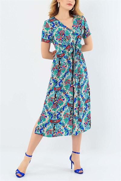44 95 Tl Desenli Dokuma Viskon Elbise 30614 Modamizbir 2020 Elbise Sifon Elbise Moda Stilleri
