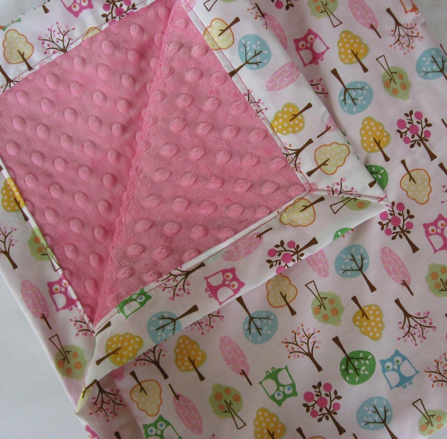 Owls And Pink Chenille Minky Baby To Toddler Blanket
