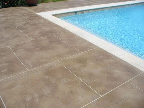 Inground Pool Patio Ideas Stained Concrete Patios