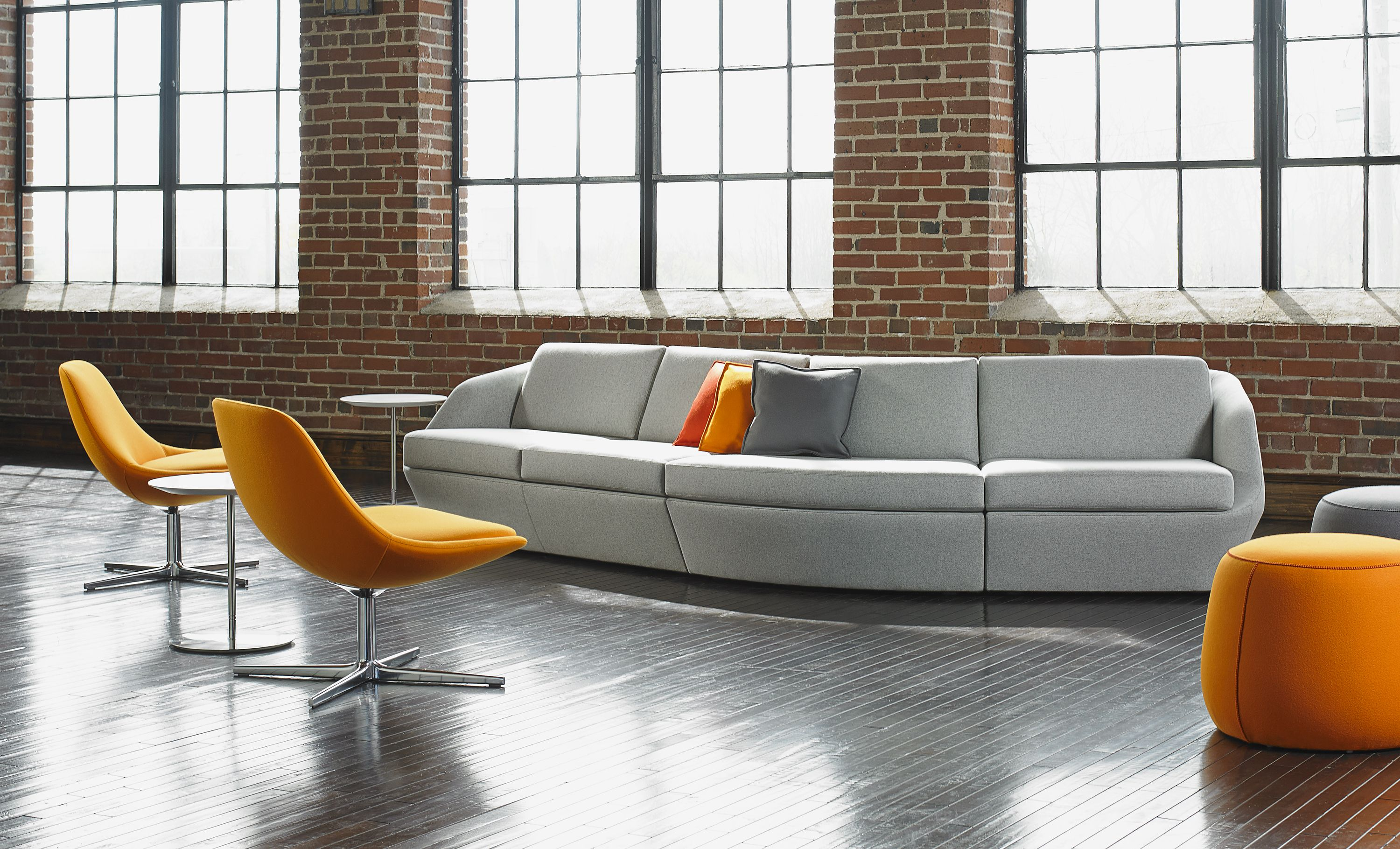 Gray Is The Perfect Office Power Color Pair With Orange Deep Red Royal Blue Or Black W Collaborative Furniture Office Furniture Modern Modern Lounge Chairs