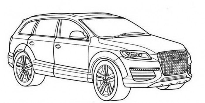 Audi Q7 drawing | Auto-Moto | Cars coloring pages, Audi q7 ...