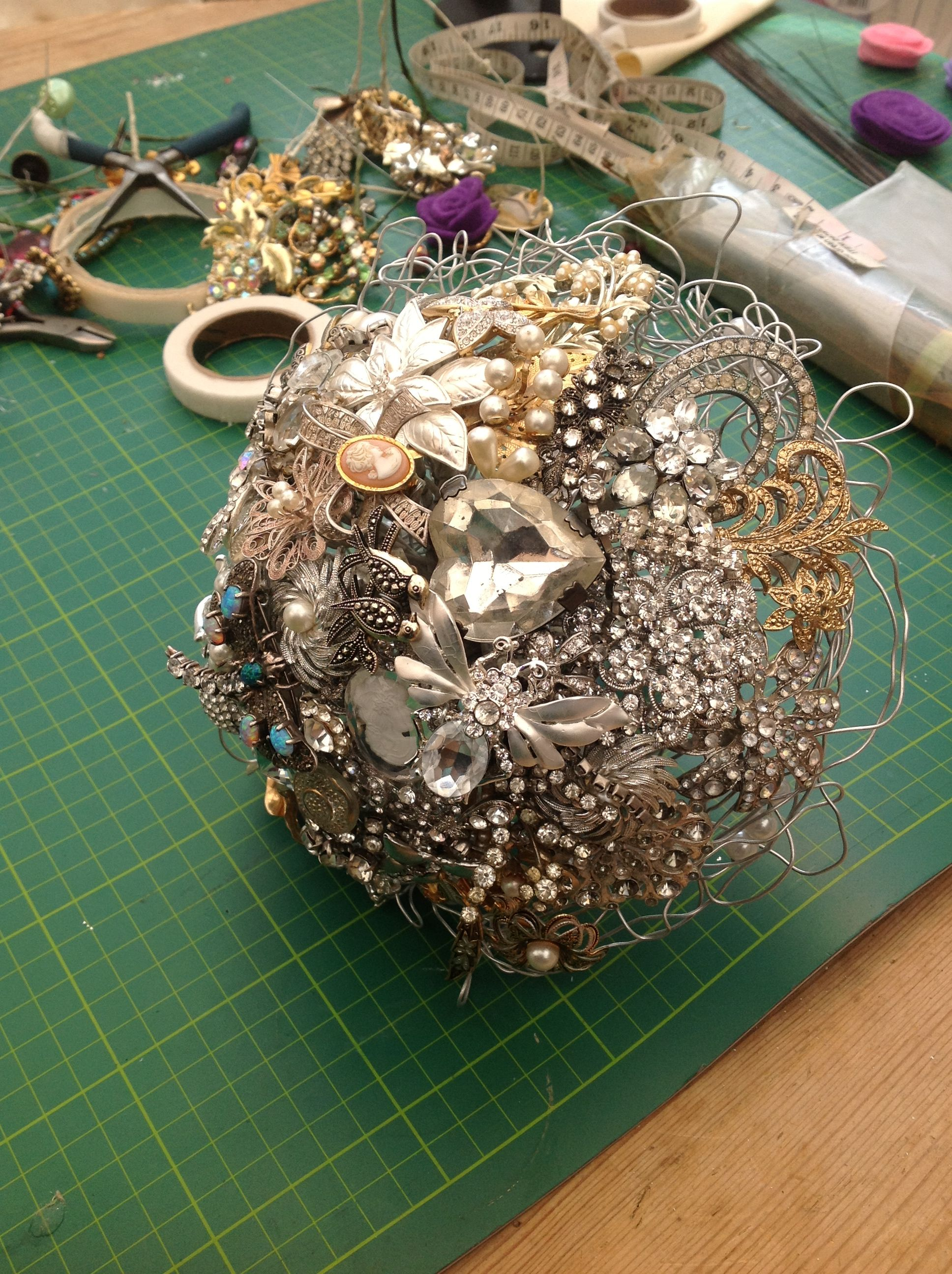 Diamanté and silver brooch bouquet Brooch bouquet