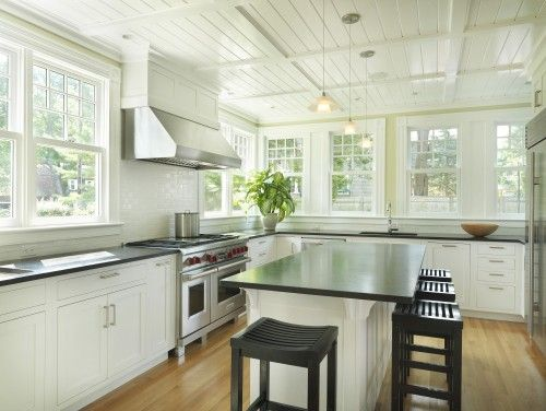 wall of windows no uppers beadboard ceiling subway vent hood - No Backsplash In Kitchen