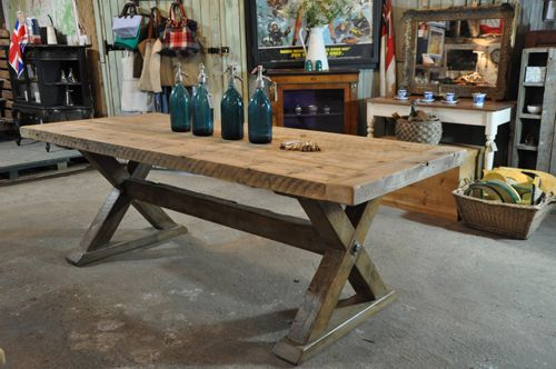 Reclaimed Wood Trestle Dining Table From Home Barn