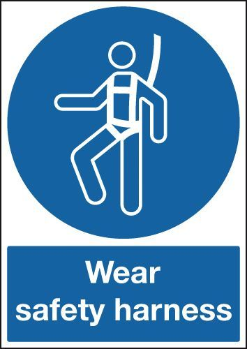 Wear Safety Harness Sign Construction Signs Occupational Health And Safety Safety