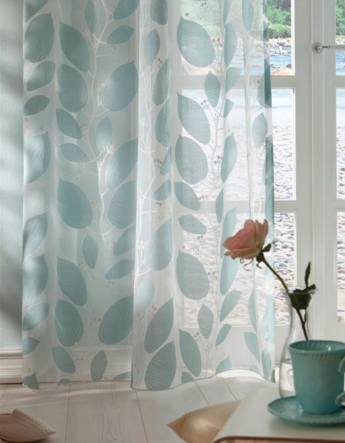 "Gorgeous botanical print ""Pod Ado 9869"" Voile in Duck Egg 683 - curtains direct"