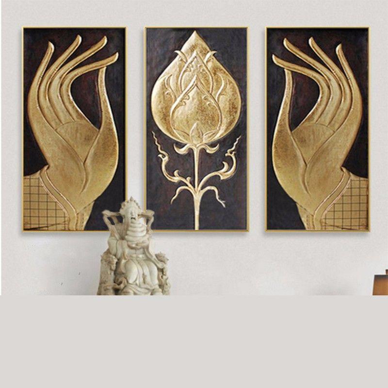 Asiatische Bilder Auf Leinwand handgemalte buddha hände mit lotus blume goldfolie ölgemälde