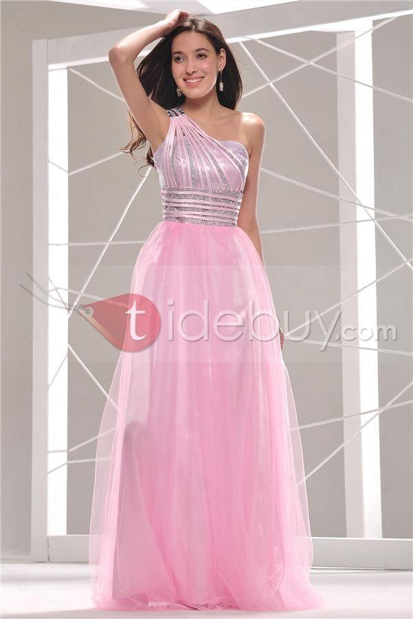Precioso Vestido de Noche/Prom Largo con Lentejuelas Un Hombro ...