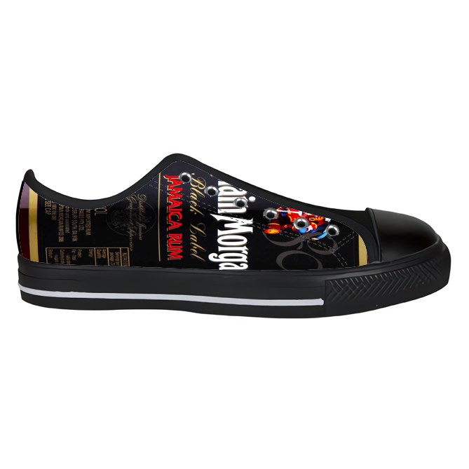 hot sale online d2bd2 cbef2 Black Captain Morgan Custom Aquila Canvas Shoes for Men