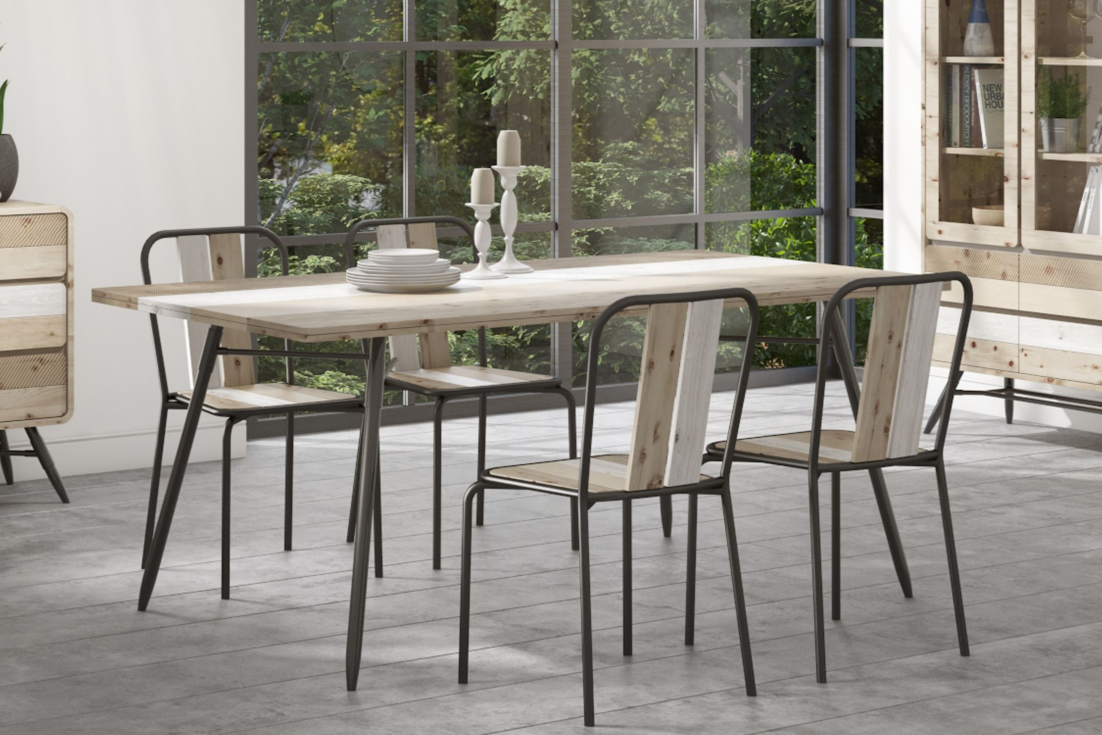Kuta Modern Reclaimed Wood Industrial Dining Set With 4 Dining Chairs Dining Table And Chair Set Ne Industrial Dining Sets Dining Chairs Industrial Dining