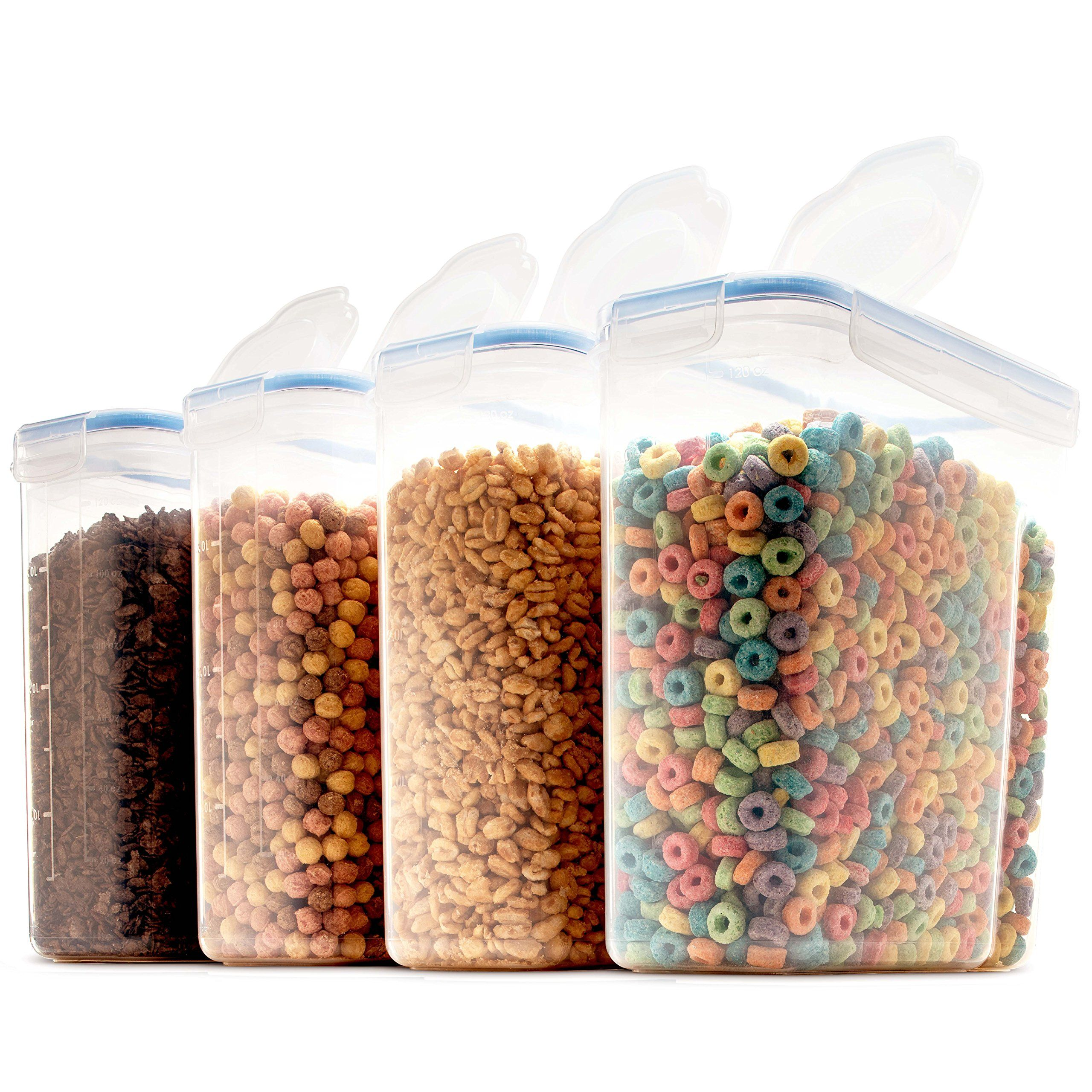 Set Of 4 Large Cereal And Dry Food Storage Containers Bpafree