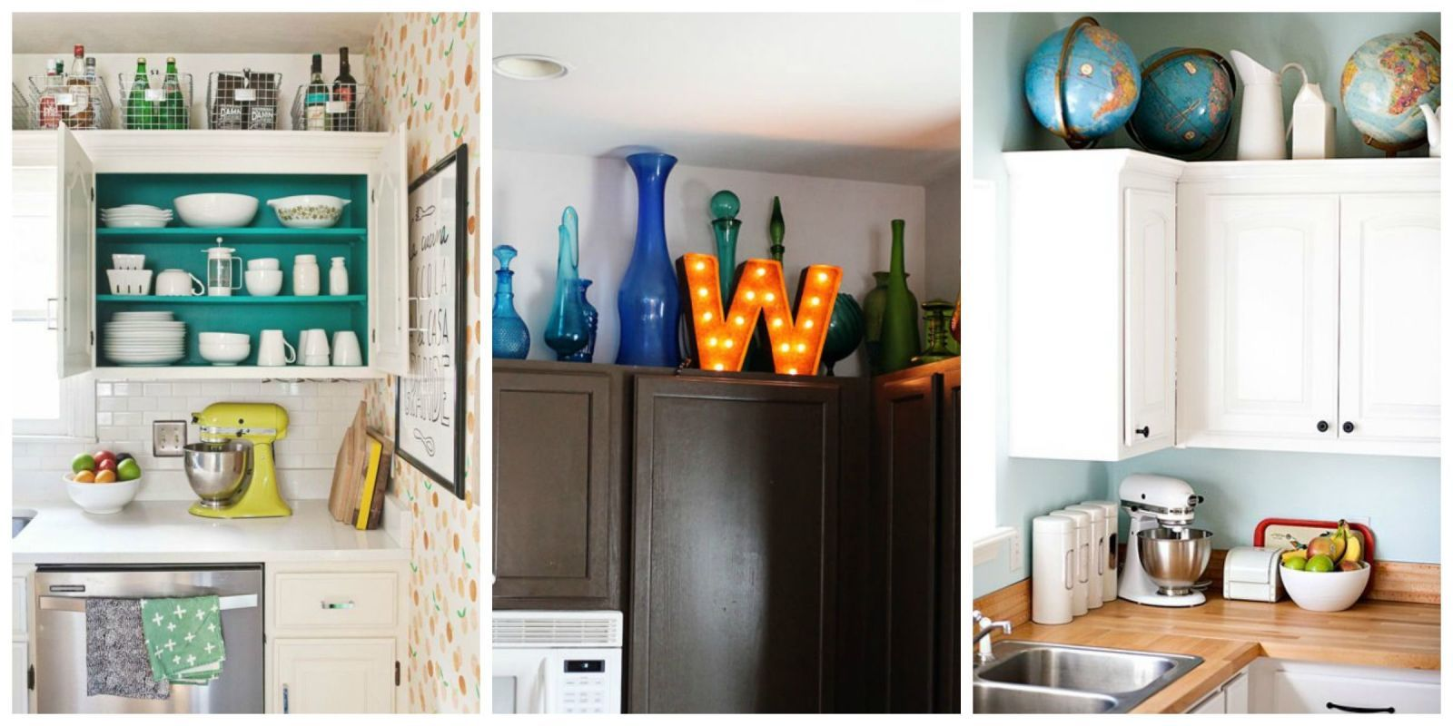 15 Smart Solutions For That Awkward Space Above Your Cabinets Decorating Above Kitchen Cabinets Above Kitchen Cabinets Kitchen Cabinets