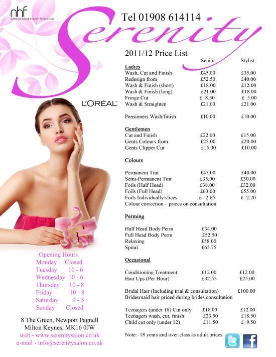 Pin On Salon Price List