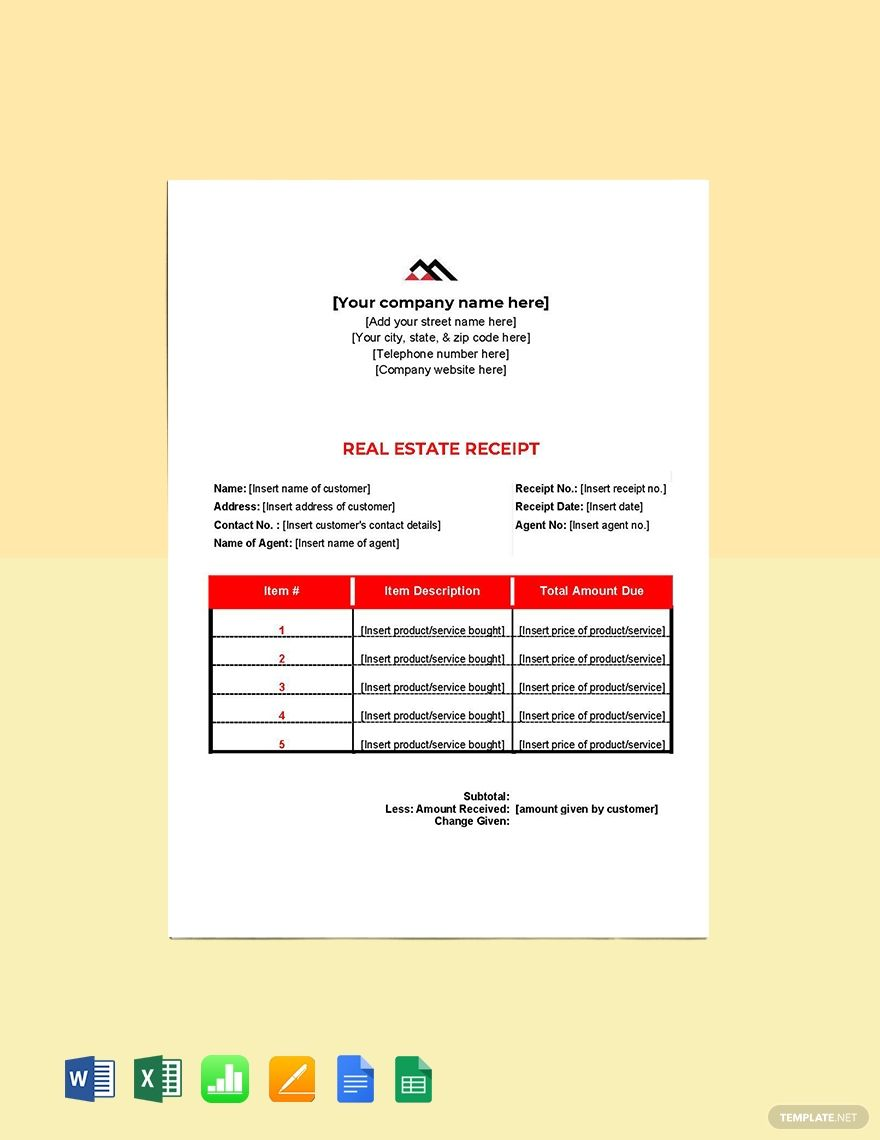 Blank Real Estate Receipt Template Free Pdf Google Docs Google Sheets Excel Word Template Net Receipt Template Document Templates Templates