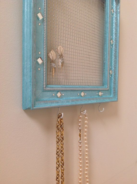 Hanging Jewelry Organizer in Aqua Blue and by sharonmooradian