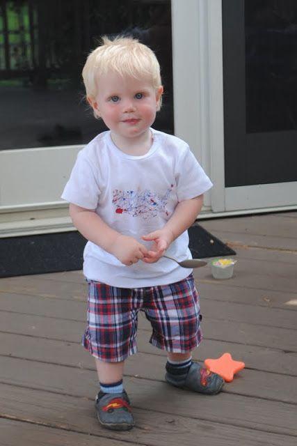 Boy, Oh Boy, Oh Boy Crafts:  Patriotic splatter paint t-shirt