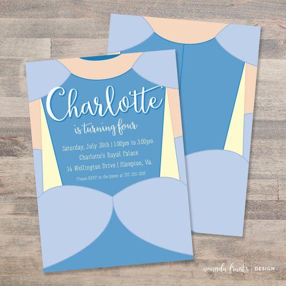 Cinderella, Princess Cinderella, Cinderella Invitation, Birthday Party, Cinderella Birthday, Blue, Customizable, Printable, Digital File